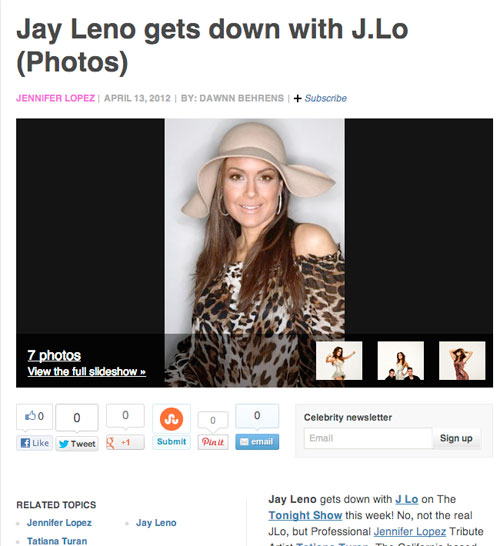 Tatiana as JLo on Leno